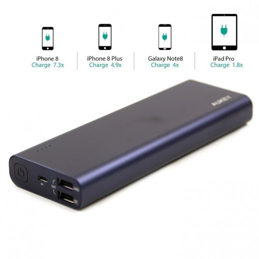 Aukey Power Bank 20,100 mAh with Quick Charging - BLUE