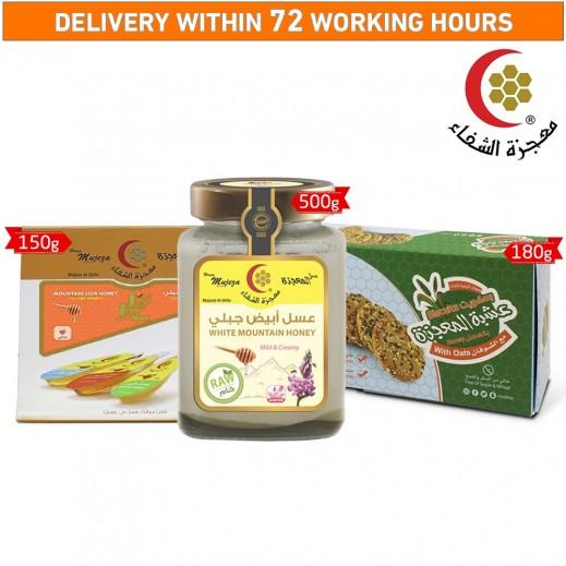 Mujezat Al Shifa Creamy & Mild White Mountain Honey + Ispaghol Oats Biscuits + Sidr Honey Spoon