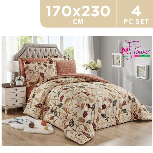 Flower Comforter 4 Pieces Set Brown 170 x 230 cm - delivered by Al Fouz international