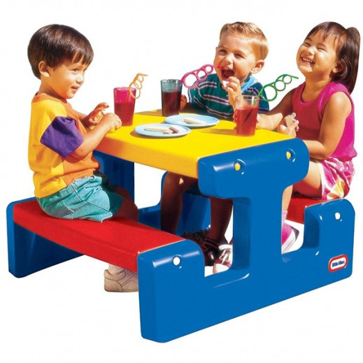 Little Tikes Junior Picnic Table Blue - delivered by Safari House Within 2 Working Days