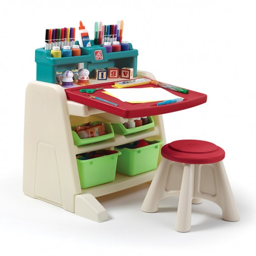 STEP2 Flip & Doodle Easel Desk With Stool  - delivered by Shahaleel Within 2 Working Days