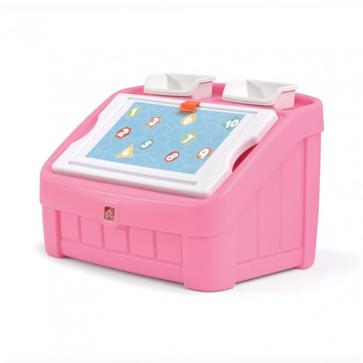 Step2 2-in-1 Toy Box & Art Lid - Pink  - delivered by Shahaleel