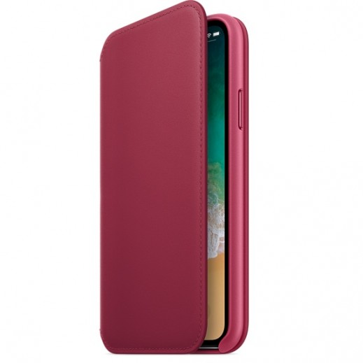 Apple iPhone X Leather Folio Case - Berry