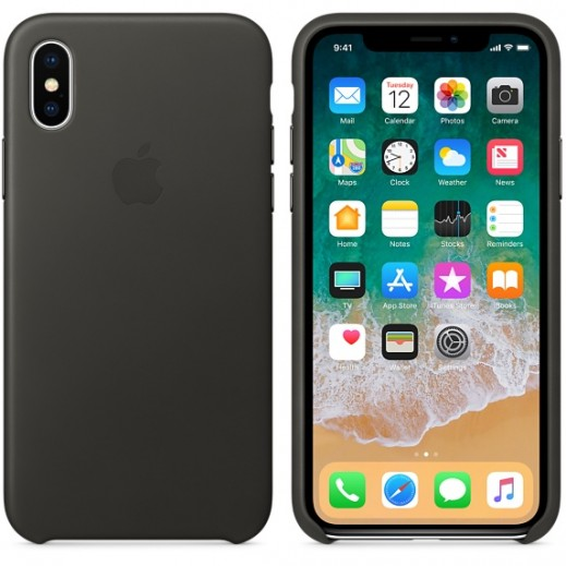 Apple iPhone X Leather Case - Charcoal Gray