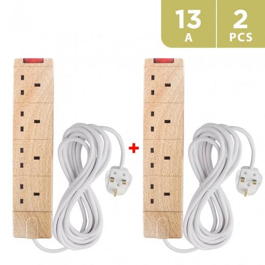 Masterplug Wood Type Extn 4 Way With Wire - UG2WD (2 PCS)