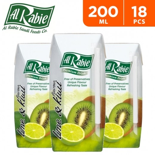 Al Rabie Kiwi & Lime Juice 200 ml (18 Pieces)