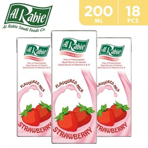 Al Rabie Strawberry Flavoured Milk 200 ml (18 Pieces)