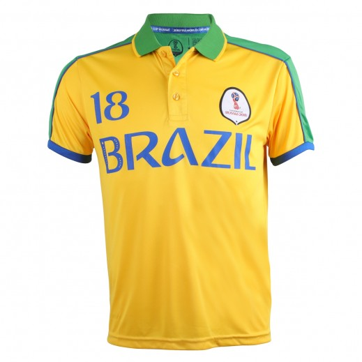 Fifa World Cup Russia 2018 Men Brazil Polo T-Shirt Small-XXLarge