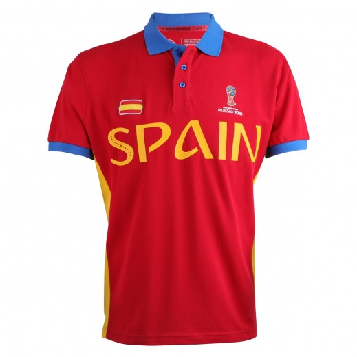 Fifa World Cup Russia 2018 Men Spain Polo T-Shirt Small-XXLarge