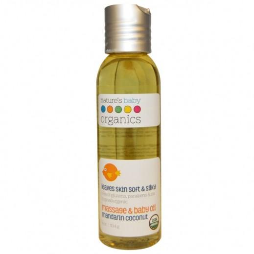 Nature's Baby Organics Mandarin Coconut Massage & Baby Oil 118.3 ml