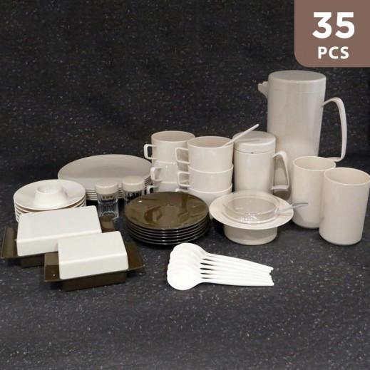 Valon Melamine Tea & Coffee Set - 35 Pieaces
