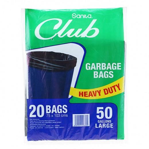 Sanita Club Garbage Bags Large 50 Gallons (20 Pieces)