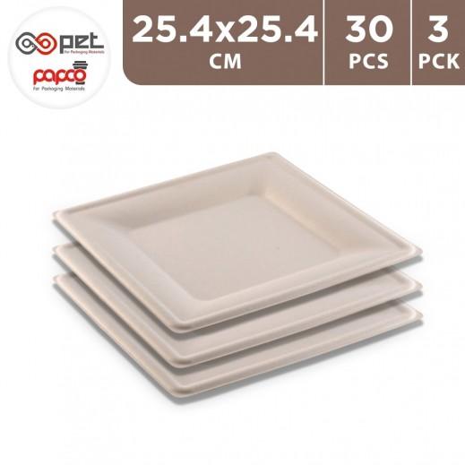 Papco Eco Friendly Square Plates 10 Pieces 25.4 x 25.4 cm ( 3 Packs )