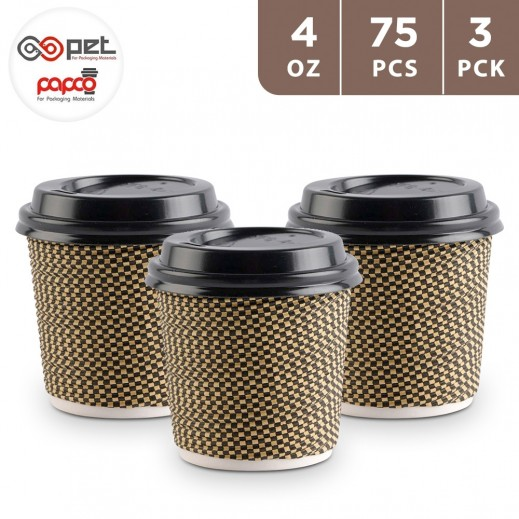 Papco Paper Cups 4 oz With Lids 25 Pieces ( 3 Packs )