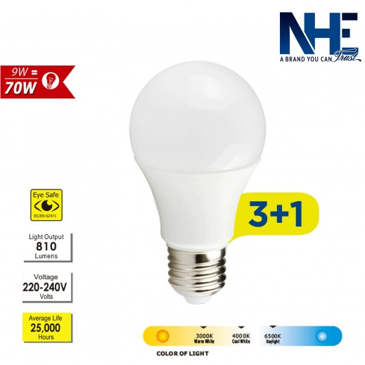 NHE LED 9 W DayLight – 3+1 free