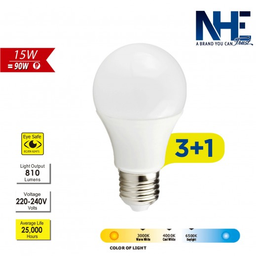 NHE LED 15W Daylight – 3+1 free