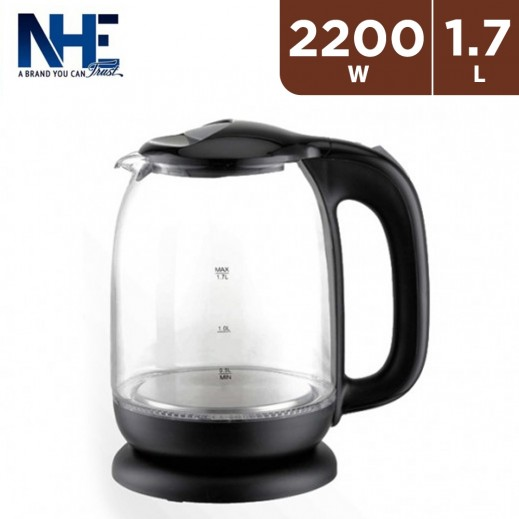 NHE 2,200 W Glass Kettle 1.7 L  - Black