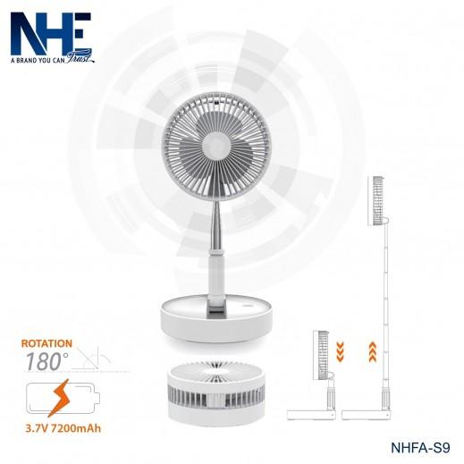 NHE 7200 mAh Folding Fan - White