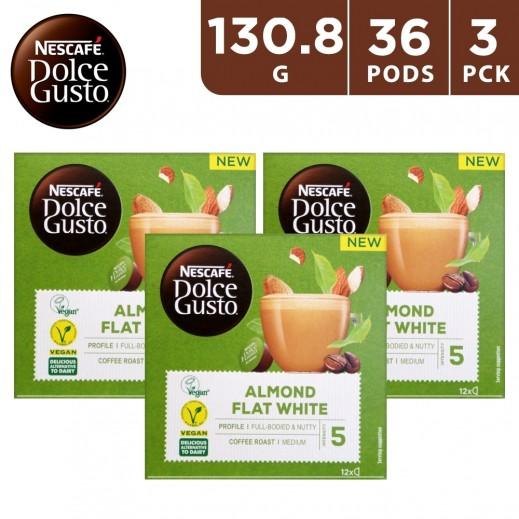 Nescafe Dolce Gusto Almond Flat White Medium Roast Coffee 3 x 132 g (36 Capsules)