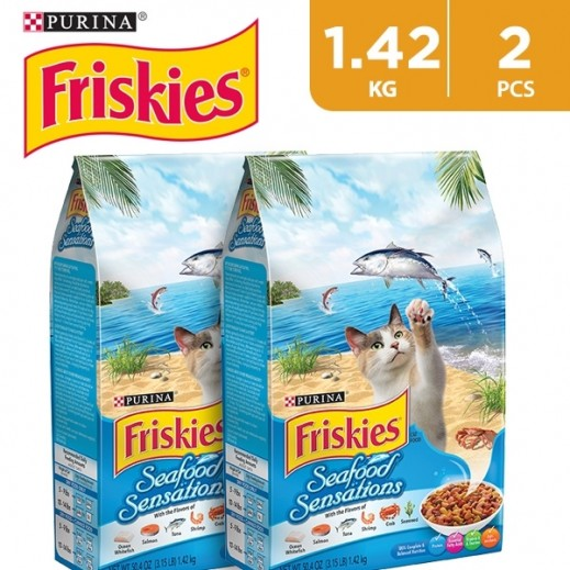 Purina Friskies Seafood Sensation Dry Cat Food 2 x 1.428 kg