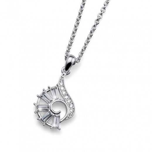 Oliver Weber Alpha Rhod Crystal Pendant  With Chain
