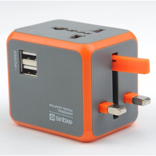 Exquis Universal Travel Adapter with 2 USB Ports - Orange