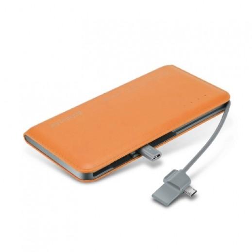 WST Portable Leather Texture Power Bank Battery 8000mAh Orange
