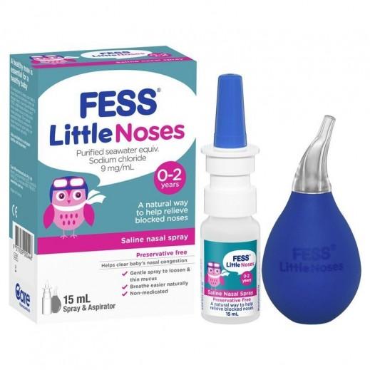 Fess Little Noses Saline Nasal Drops & Aspirator For Newborns & Babies 15 ml
