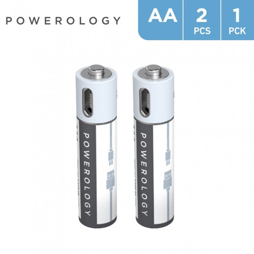 Powerology USB Rechargeable AA Battery (2pc pack)