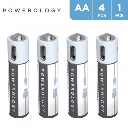 Powerology USB Rechargeable AA Battery (4pc pack)