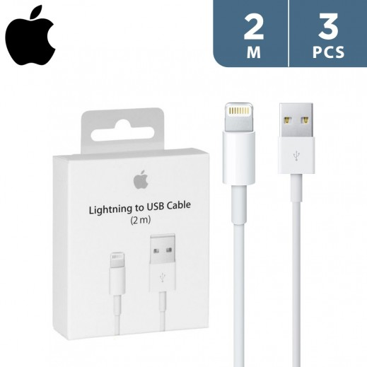 Apple Lightning to USB Cable 2m - White - (3 pieces)