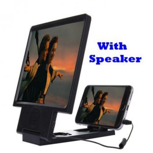3D Enlarged Screen Mobile Phone With Speaker Black