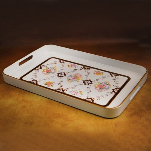 White Designer Tray with Flowers Large