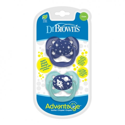 Dr.Brown's Advantage Soother Stage 1 Blue Space 2 Pieces