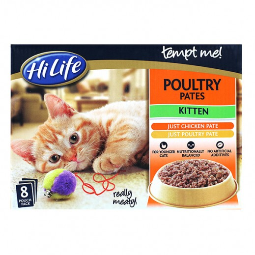 Hi Life Tempt Me Cat Food Poultry Pates For Kitten (8x85 g)