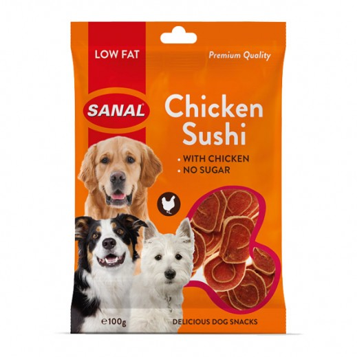 Sanal Chicken Sushi Low Fat Delicious Dog Snacks 100 g