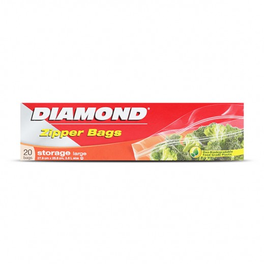 Diamond Zipper Storage Bag Large 20 pieces