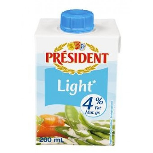 President Light Cream 4% Fat  200 ml