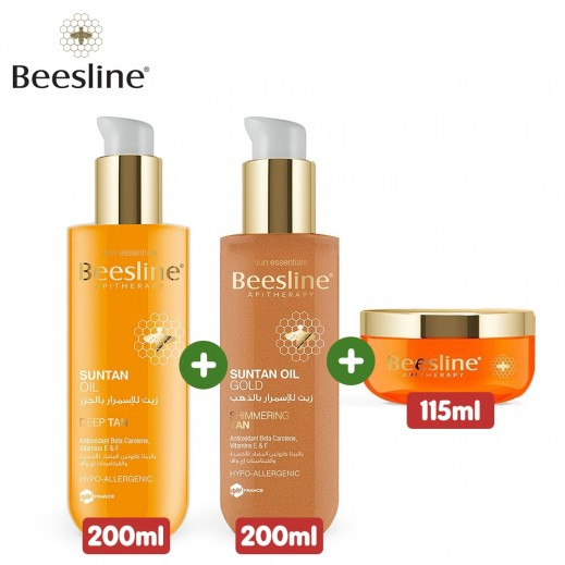 Beesline Tanning Oil 200 ml + Tanning Oil Gold 200 ml + Tanning Jelly 115 ml