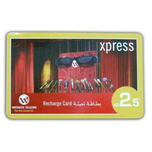 Wataniya Xpress Recharge Card 2.5 K.D