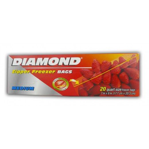 Diamond Zipper Freezer Bags Medium 20 pieces