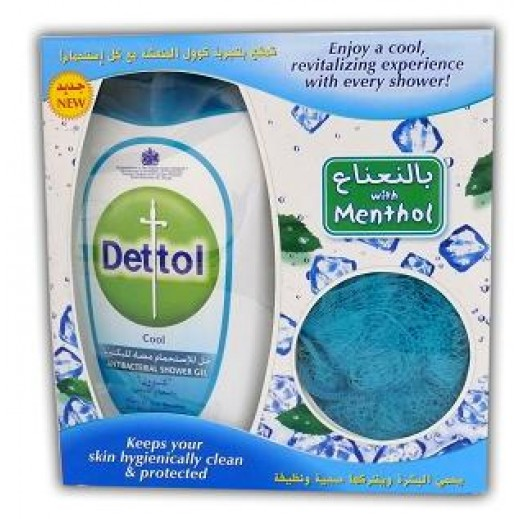 Dettol Shower Gel Cool With Puff 250 ml