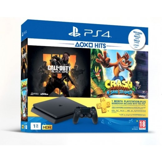 PS4 Slim 1TB Bundle (PS4 + 2 Games + 1 Months PlayStation Plus Membership)