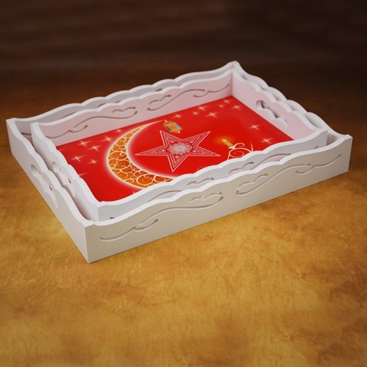 Ramadan Special Wooden Tray Set Red - 2 Pieces