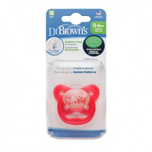 Dr.Brown's Prevent Glow In The Dark Pacifier Stage 1 0-6 Months Pink