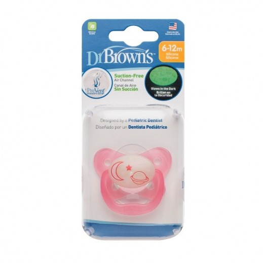 Dr.Brown's Prevent Glow In The Dark Pacifier Stage 2 6-12 Months Pink