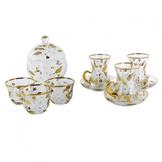 Istikana & Cawa 25 pieces Golden Flower Cup Set