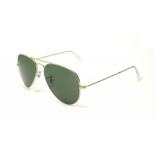 Ray-Ban Aviator Gold Tone & Green Unisex Sunglasses - 55 mm - delivered by Waleed Optics
