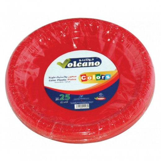 Volcano Plastic Plate Assorted Colors 9 inch - 25 Pieces