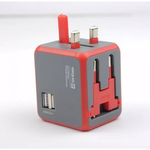 Exquis Universal Travel Adapter with 2 USB Ports - Red
